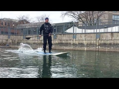CNY man enjoys paddleboarding on frigid Finger Lake throughout the winter (video)