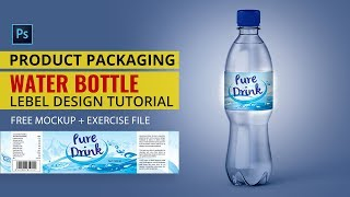 Product Packaging Tutorial | Water Bottle Label Design In Photoshop Tutorial | #MH