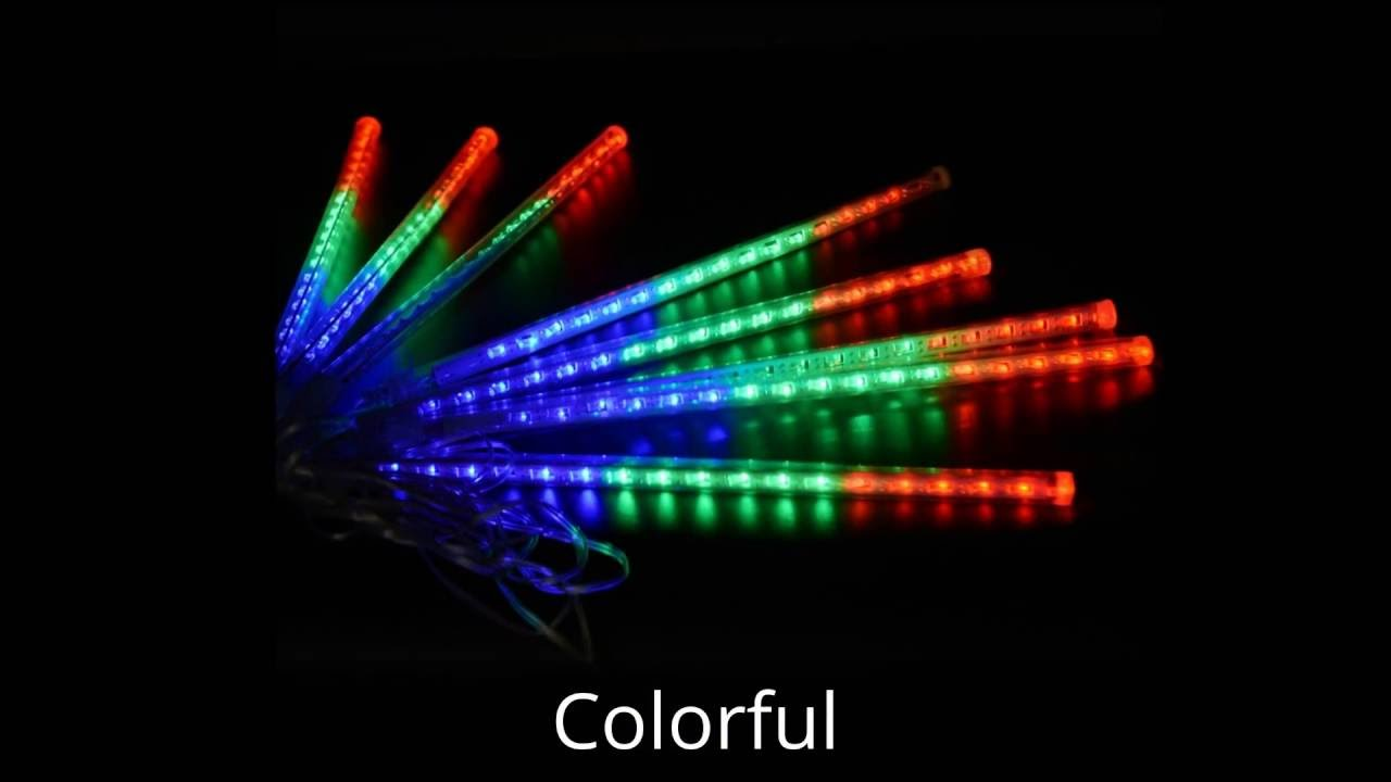 Ecandy 30cm 8 Tubes 144 LED Meteor Shower Rain Lights Waterproof Falling  Rain String Light