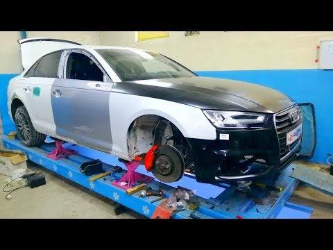 Audi A4.   Споттерные работы с полкой крыла. Сборка.