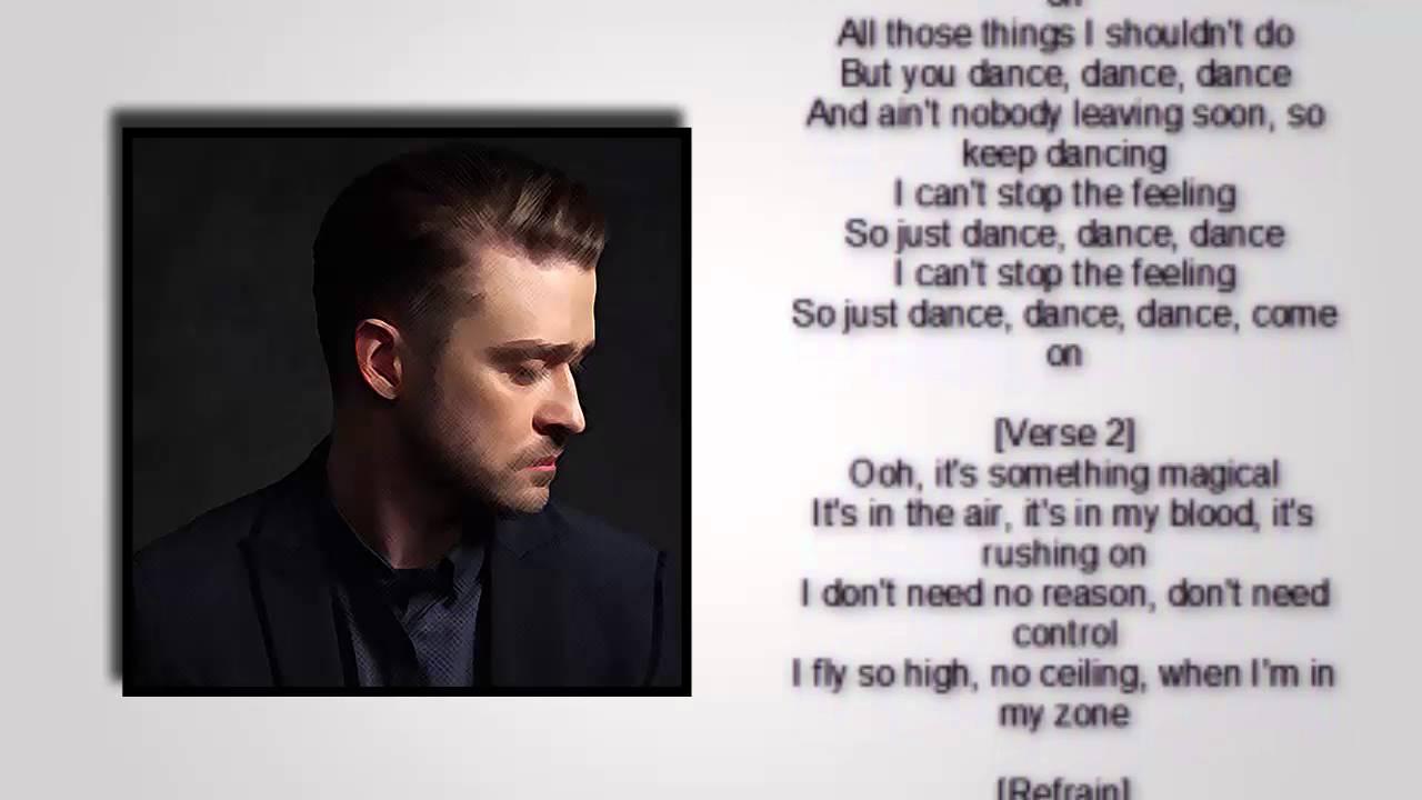 Justin Timberlake  Cant Stop The Feeling lyrics