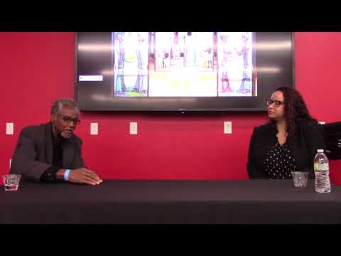 Martha Wade talks about her art work,  Malcolm X  College, at Harlem Fine Arts Show, 2017