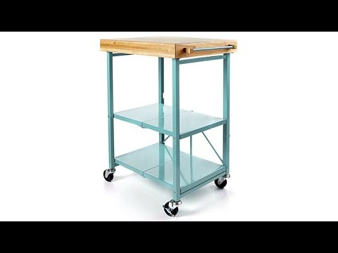 origami folding kitchen island cart with casters - youtube