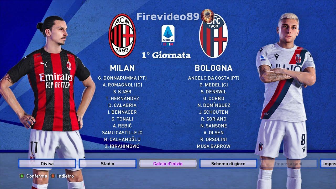 Pes 2021 Serie A • Milan vs Bologna • (1° Giornata) - YouTube