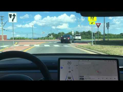 Tesla Autopilot | Model 3 Going Through a Roundabout | *Newest Software* Big Improvement thumbnail