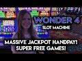 MY BIGGEST JACKPOT HANDPAY!! WONDER 4 SLOT MACHINE!! SUPER FREE GAMES ALL 15 GOLD BUFFALOS!! WOW!!