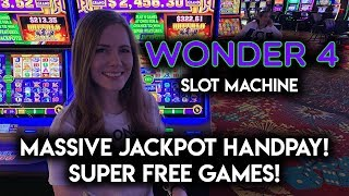 MY BIGGEST JACKPOT HANDPAY!! WONDER 4 SLOT MACHINE!! SUPER FREE GAMES ALL 15 GOLD BUFFALOS!! WOW!!