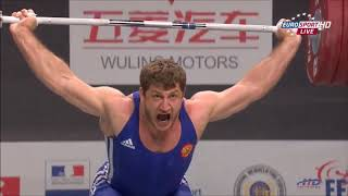 Khadzhimurat Akkaev v Dimitry Klokov at 2011 World Weightlifting Championships