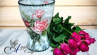 Decoupage Tutorial - Glass flower vase