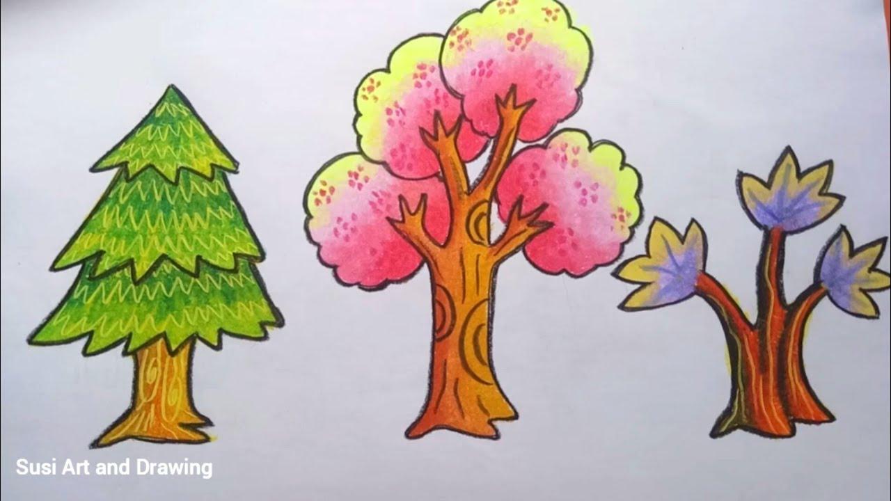 Cara Mewarnai Gradasi Pohon Dengan Crayon Oilpastel