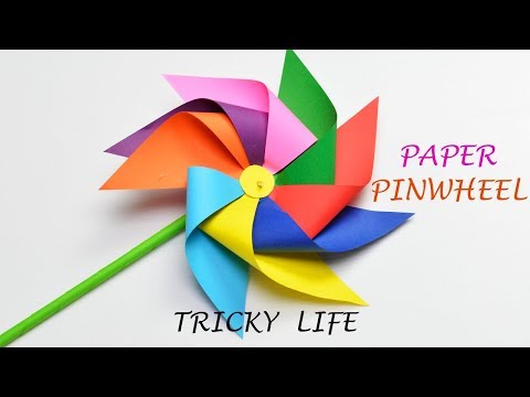 DIY PAPER WINDMILL| HOW TO MAKE A PAPER PINWHEEL| PAPER CRAFT |ORIGAMI TUTORIAL| TRICKY LIFE