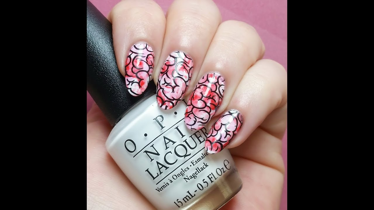 Bloody Brains Zombie Nail Art Stamping Tutorial - Bloody Brains Zombie Nail Art Stamping Tutorial - YouTube