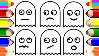 Ghost Monster Coloring Pages | How to Draw Ghost Monster Emoji | Amazing Kids Coloring Page