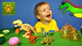ДИНОЗАВРЫ Яйца Динозавров Игрушки Детское Видео про Динозавров для Детей  Lion boy