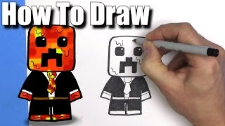 How To Draw Preston Playz Minecraft Skin  - EASY Chibi - Step By Step - Kawaii
