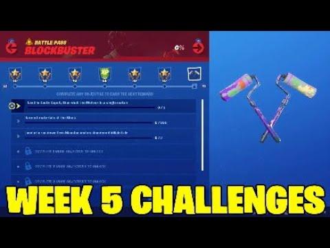 Fortnite Week 5 Challenges.Blockbuster Challenges - All Challenges