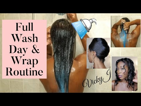 🍃Wash Day Routine   Hair Color Removal and How To Wrap Hair   VickyJ