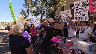 Anti-Trump protesters target GOP lawmakers