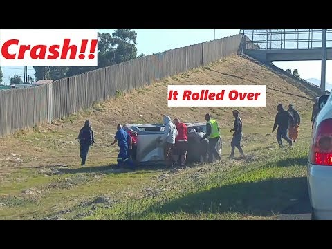 Hyundai Atos flips over on freeway!!