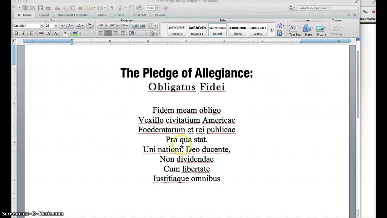 The Pledge Of Allegience In Latin Youtube