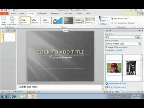PowerPoint 2010 Using Design Templates - YouTube
