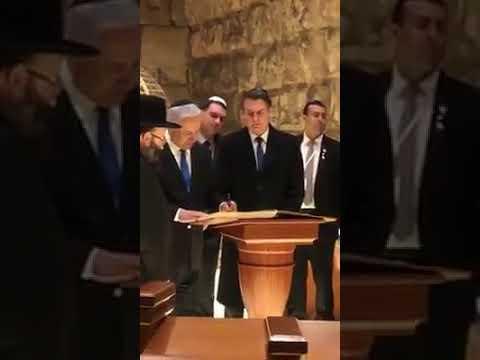 Bolsonaro visita os túneis no Muro das Lamentações