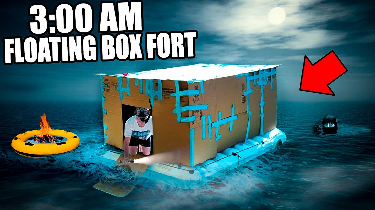 3 00 Am Floating Box Fort Challenge 😱 Extremely Scary