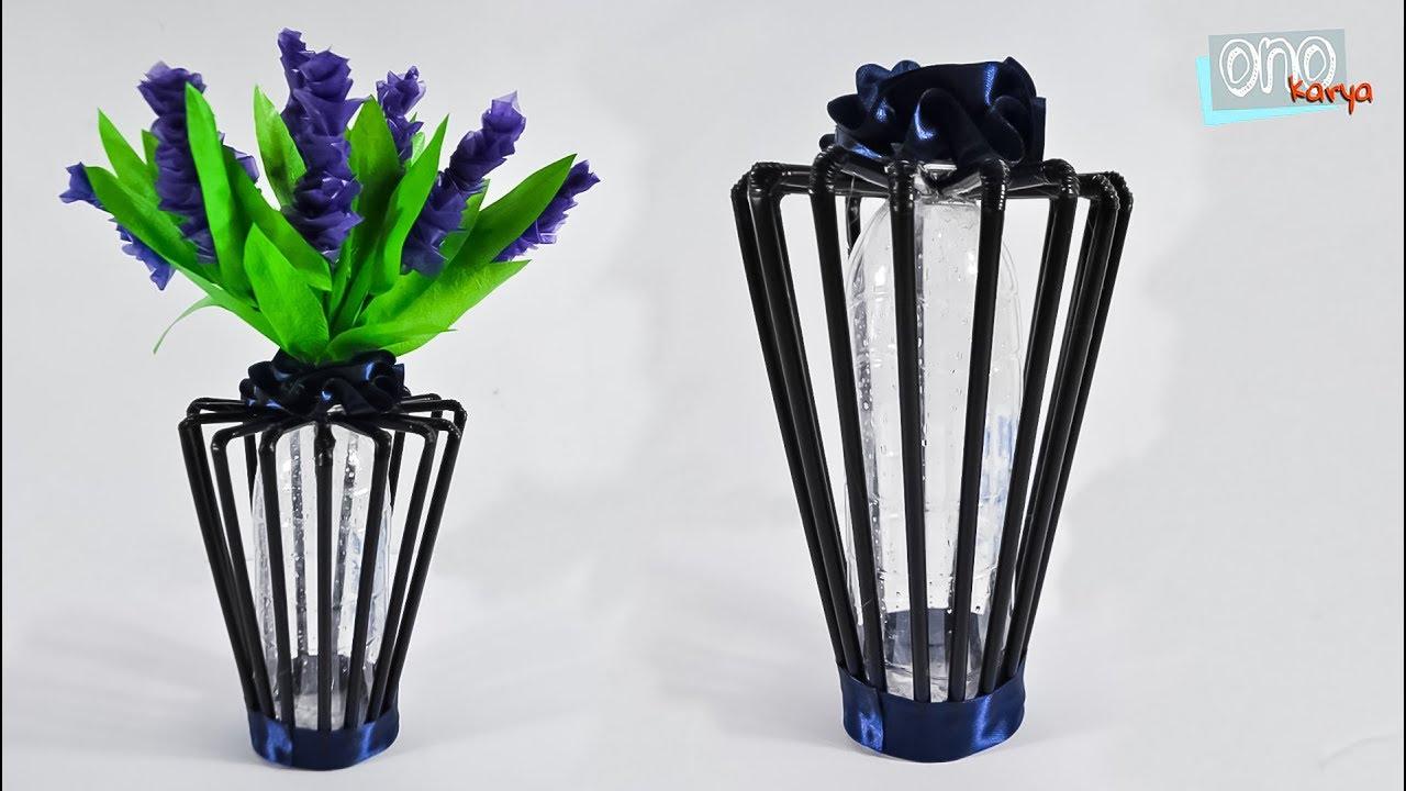 Diy Membuat Pot Bunga Dari Sedotan Dan Botol Plastik Flower Vase Youtube