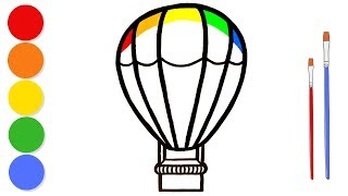 Glitter Hot Air Balloon coloring and drawing for kids and toddlers | Learn colors | ArtLand