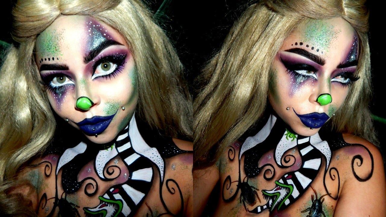 beetlejuice inspired clown | halloween makeup - youtube