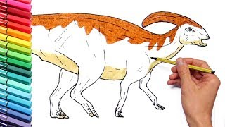 Dinosaurs Color Pages for Childrens - Learn Colors and Draw Parasaurolophus