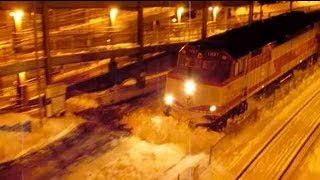 MBTA Train Plowing Snow! Awesome! (Canton Junction 3/8/13)