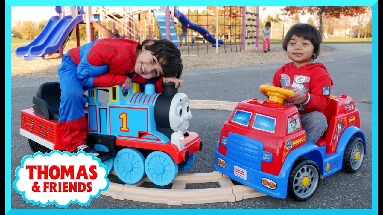 Playground Fun Thomas And Friends Paw Patrol Power Wheels Race Family Fun Playtime Park Thomas Train