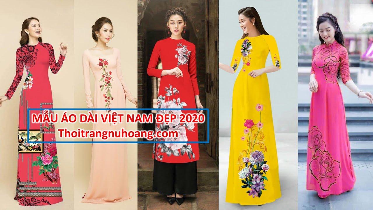 Áo dài Việt Nam | Tuyển chọn 20 Mẫu áo dài đẹp, áo dài truyền thống họa tiết hoa xinh xắn 2020
