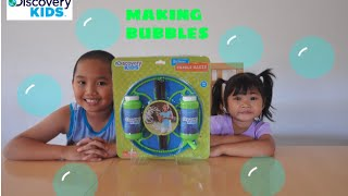 Making Bubbles Using Discovery Kids Bubble Maker