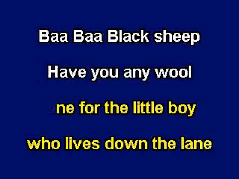 Baa Baa Black Sheep, Karaoke Video with lyrics, Instrumental Version