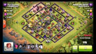 ClashOfClans Th9 Trophy Pushing Base With Air Sweeper and Replays