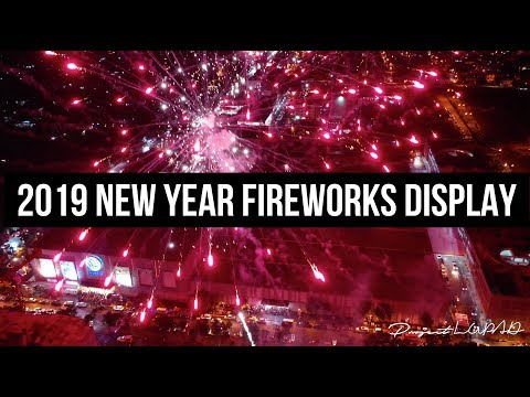 2019 New Year Fireworks Display at SM City Philippines Aerial View 4K