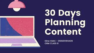 Optimizing Social Media (S.A.A 2) - 30 Days Planning Content - Dina Hidni