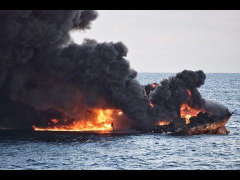 Stricken tanker leaves large oil slick in East China Sea