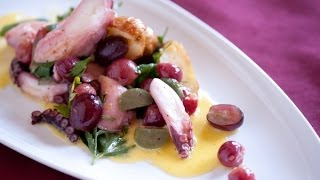 Roasted Red Grape, Octopus, And Fingerling Potato Salad