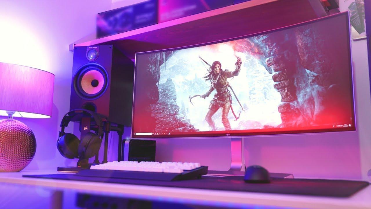 my epic ultrawide pc gaming setup tour 2018 21 9 4k youtube