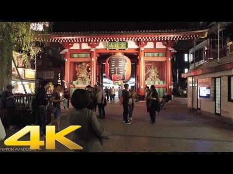 Walking around Asakusa, Tokyo by night - Long Take【東京・浅草/夜景】 4K