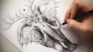 HOW TO DRAW a fantastic elephant with PENCIL + VOICE OVER !! -  by JoJoesArt