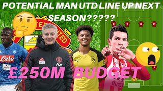 Manchester united £250M Budget!!  Potential lineup  For Next season 19/20