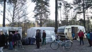 Protest mot vräkningen av EU-migranter i Helenelund 13/3