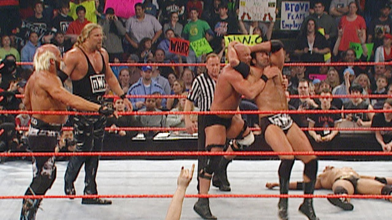 Stone Cold Steve Austin The Rock Vs The Nwo 3 On 2 Handicap Match Raw March 11 2002 Youtube