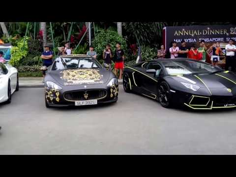 Malaysia Singapore Super Cars departing Forest City Sales Gallery - MSSCC Annual Dinner 2017