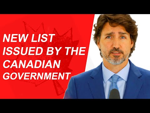 NEW LIST PUBLISHED BY CANADIAN GOVERNMENT | IRCC | CIC| OCTOBER 2020