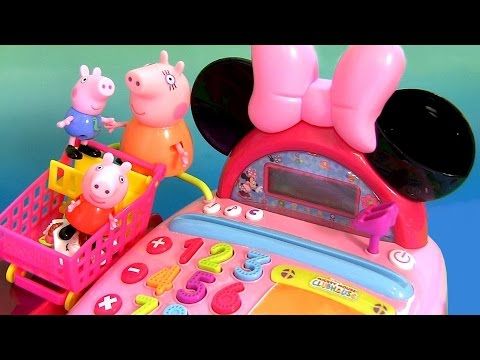 Peppa Shopping In Shopkins Supermarket Using Minnie Mouse